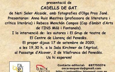 """Nati Soler presenta el nou poemari """"Cadells de gat"""" a L'Agrícol, amb la participació de la professora Rebeca Menchón"""